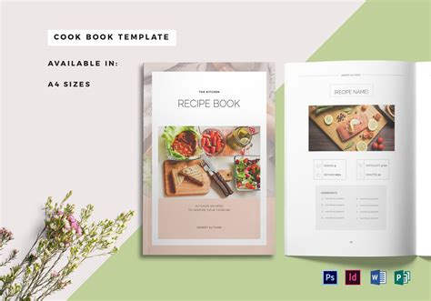 Recipe Book Cover Template In Psd Word Publisher Indesign Cookbook Template For Microsoft Word