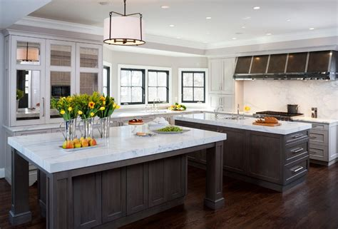 kitchens with 2 islands dc metro white marble countertops kitchen traditional with
