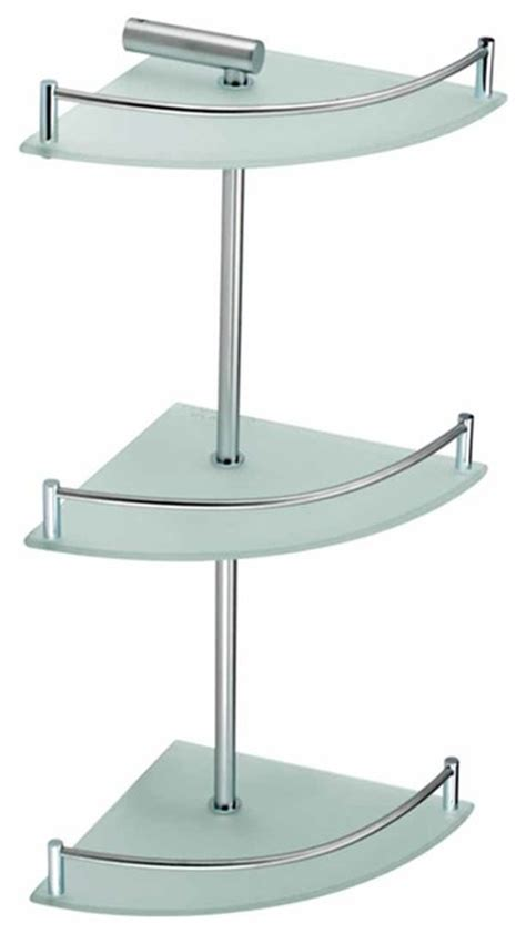 Metal Corner Shelf Bathroom by Corner Shelves Frosted Glass Stainless Steel 3 Tier Corner