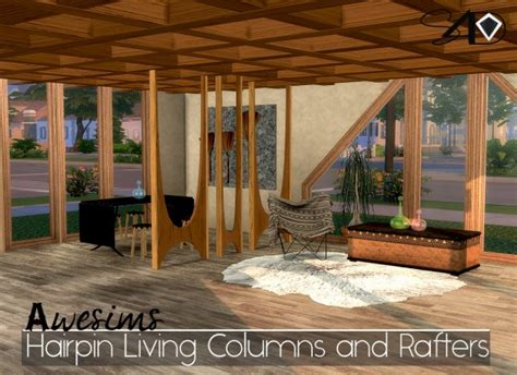 Set Ceiline Cc sims 4 designs awesims hairpin living columns and rafters set sims 4 downloads