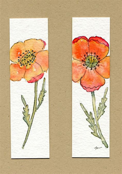 printable poppy bookmark watercolor and ink poppy bookmarks my art pinterest