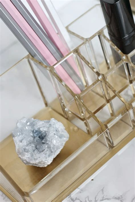 jws interiors glam diy lucite and gold desk accessories