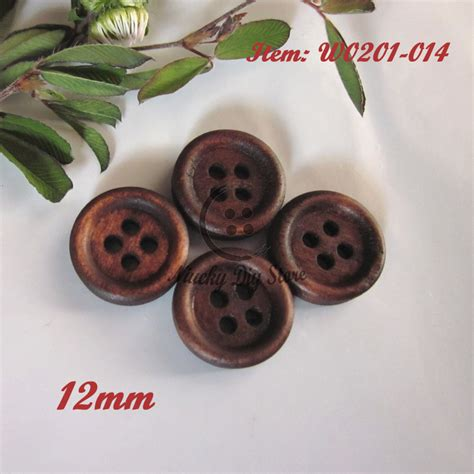 Handmade Buttons For Clothing - sewing supplies 200pcs 12mm 4 holes thin edge coffee wood