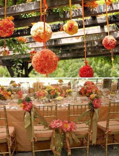 Summer Wedding Decor ? Orange Hanging Flower Kissing Ball