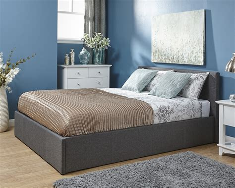 side lift ottoman bed side lift fabric 150cm grey amc furniture