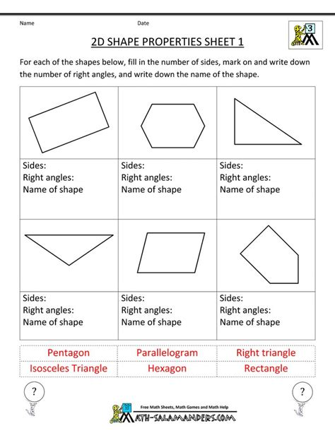 geometry worksheet naming angles a teacher ideas 2d shapes worksheets for 3rd grade sorting 2d shapes by