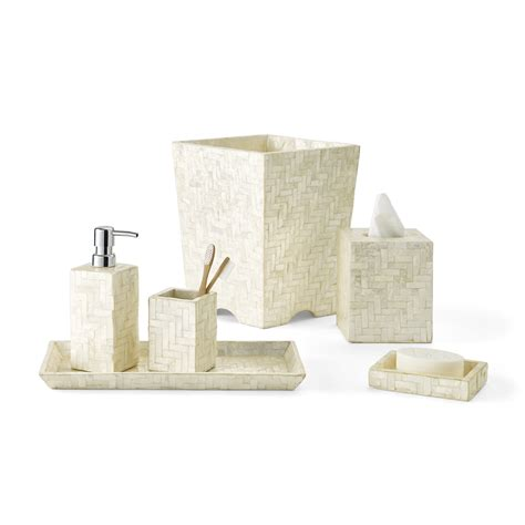 capiz shell bathroom accessories herringbone capiz shell bath accessories ivory gump s