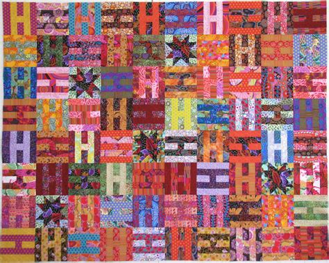 H Quilt Pattern by Exuberant Color Quilts With Kaffe Fassett Fabric