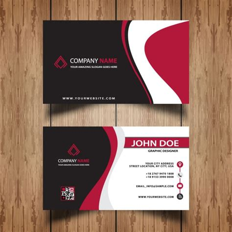 Visit Card Template Ai by Visit Card Template With Waves Vector Free