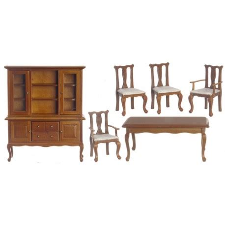 Dollhouse Dining Room Furniture 6 Pc Walnut Dining Room Set Dollhouse Dining Room Sets Superior Dollhouse Miniatures