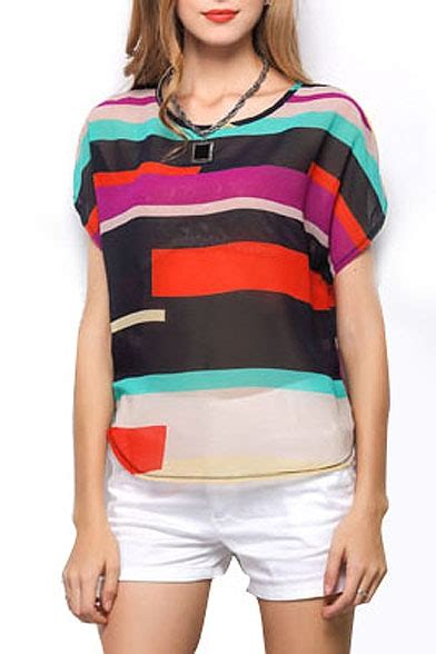 Striped Panel Blouse multi color stripe panel sleeve chiffon blouse