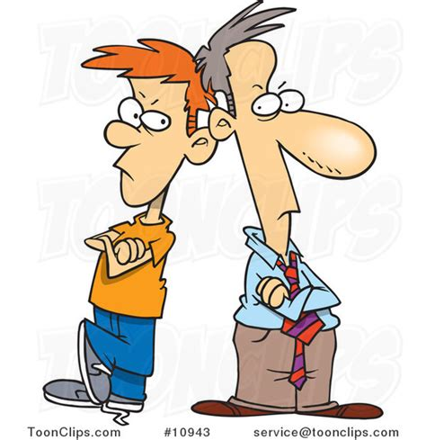 father and son cartoon cartoon father and son having a stand off 10943 by ron