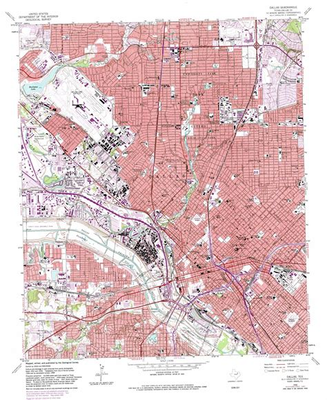 texas topo map dallas topographic map tx usgs topo 32096g7