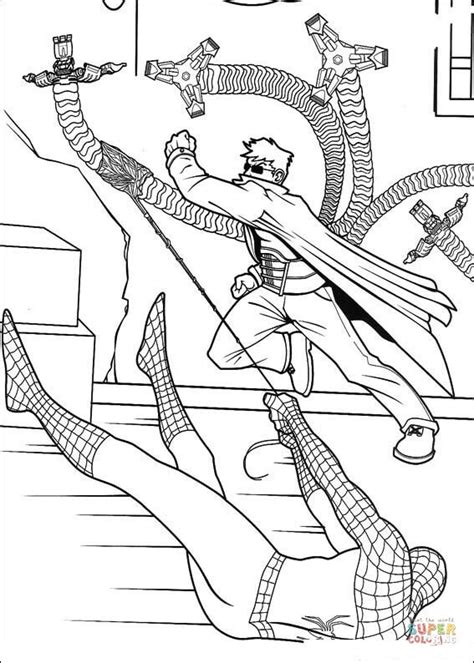 spider man caught doctor octopus coloring page free