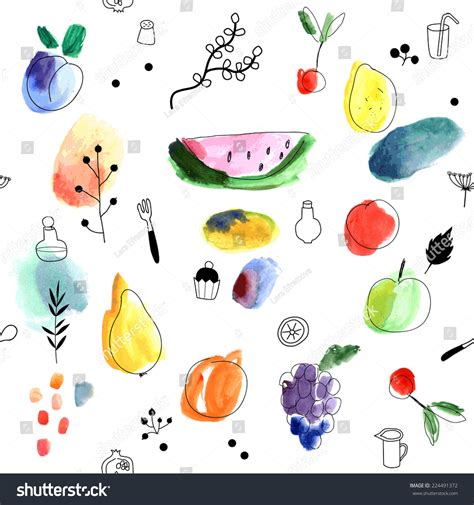 vector watercolor seamless pattern patterns creative seamless pattern fruits berries on white stock vector