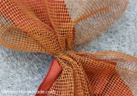 how to add wide mesh ribbon garland to a christmas tree deco mesh fall garland tutorial hoosier