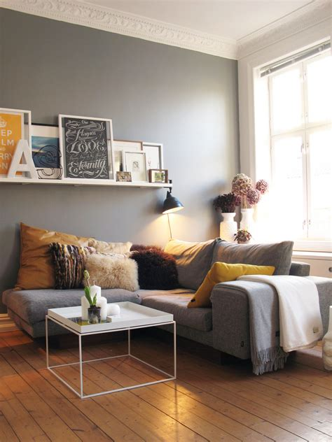 decorating with gray gray walls yellow accent nice simple wall shelf too