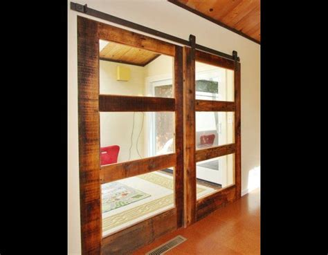 Sliding Glass Barn Doors 3 Glass Panel Sliding Reclaimed Wood Doors Dining Room Dining Room