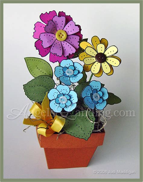Cardstock Paper Craft Ideas - 3d pierced flowers in flowerpot by crafts cards and