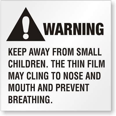 Ansi Suffocation Hazard Label Keep Away From Children Sku Lb 1994 Suffocation Warning Template