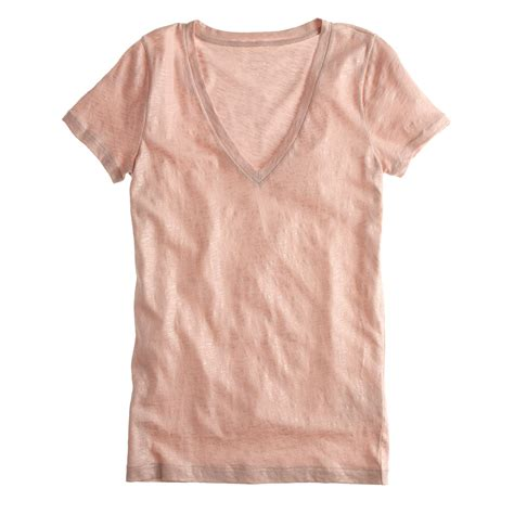 Kaos Washing Vintage Tees j crew vintage cotton v neck t shirt in metallic in pink