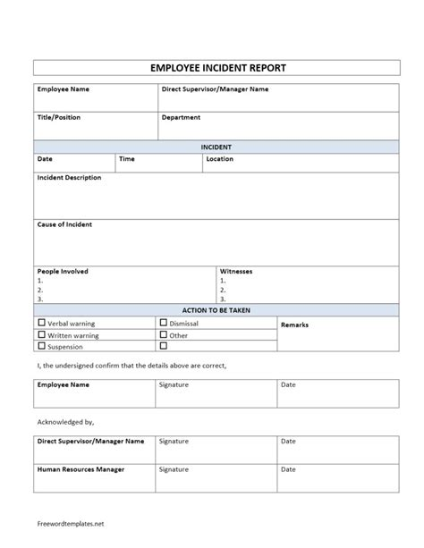 x report template employee incident report