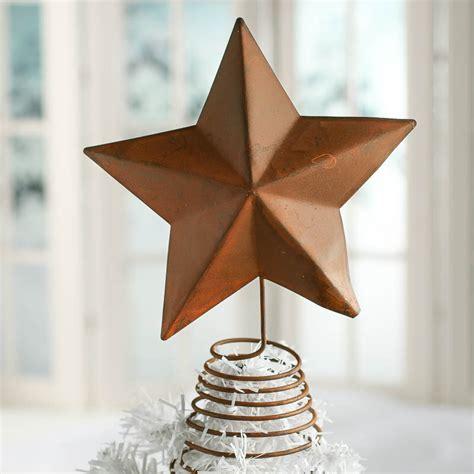 rusty tin barn star tree topper christmas trees
