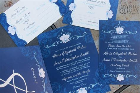 blue themed wedding invitations orchid wedding invitation suite navy blue wedding