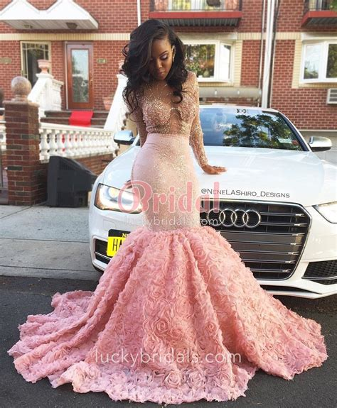pink luxury sequin floral trumpet sleeve illusion evening prom dress luckybridals