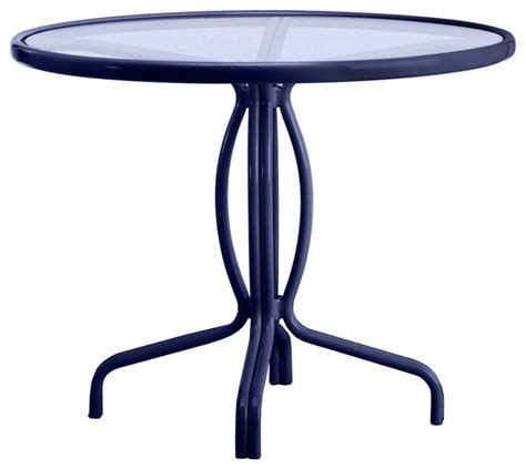 Umbrella For Bistro Table Tamiami 36 Quot Bistro Dining Table Glass Top No Umbrella Transitional Outdoor Pub