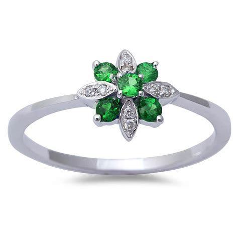 18ct genuine emerald antique style flower