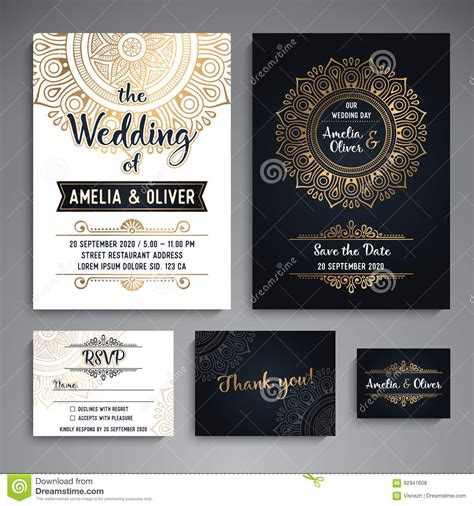 credit card wedding invitation template vector luxury wedding invitation with mandala stock photo