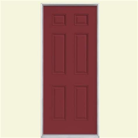 masonite 6 panel painted steel prehung front door with