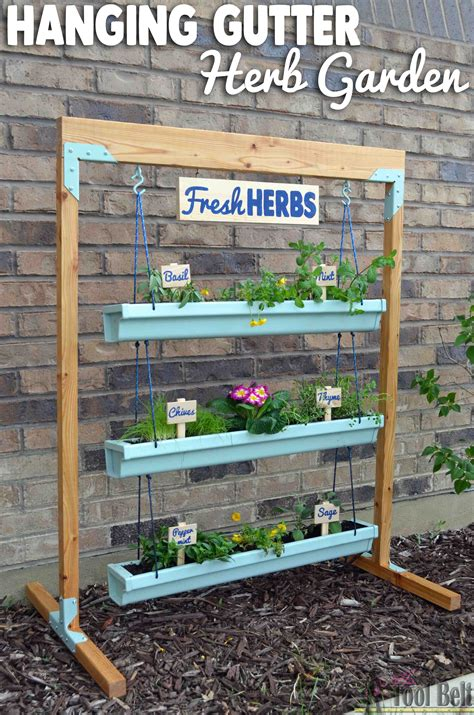 custom potted hanging herb garden diy fresh mommy blog fresh mommy blog hanging gutter planter and stand her tool belt