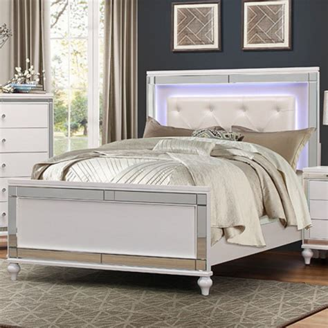 led headboard homelegance alonza glam queen bed with led lit headboard