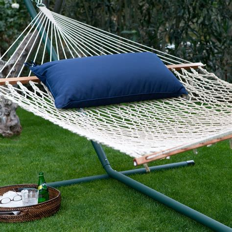Hayneedle Hammock island bay 13 ft xl rope hammock with metal stand pillow hammock and stand sets at hayneedle