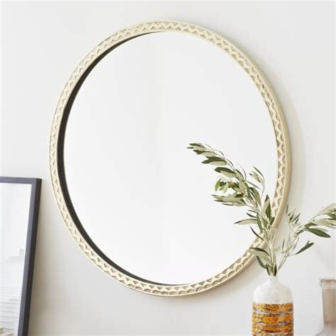west elm round thin textured brass round mirror west elm want