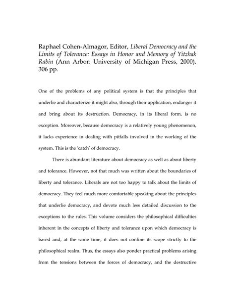 Is The Uk A Liberal Democracy Essay by Liberal Democracy And The Limits Of Tolerance Essays In Honor And Memory Of Yitzhak Rabin Pdf