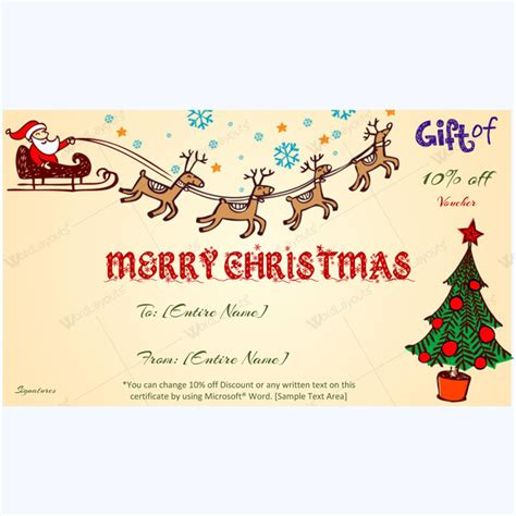 santa gift certificate template spirit gift voucher template word word layouts