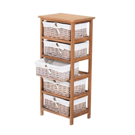 Kitchen Cabinet Lining by Homcom 5 Drawers Storage Unit Wooden Frame W Wicker Woven