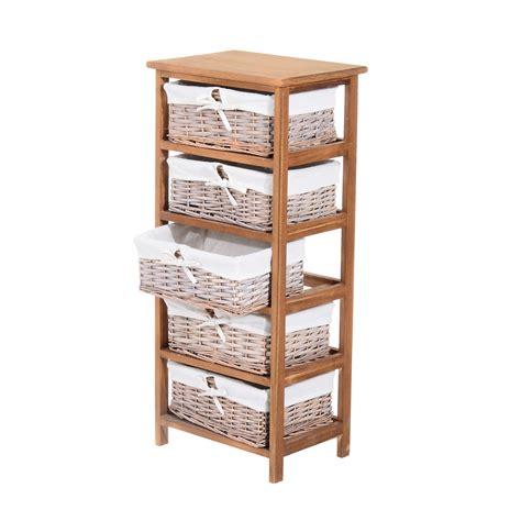Homcom 5 drawers storage unit wooden frame w wicker woven baskets aosom co uk