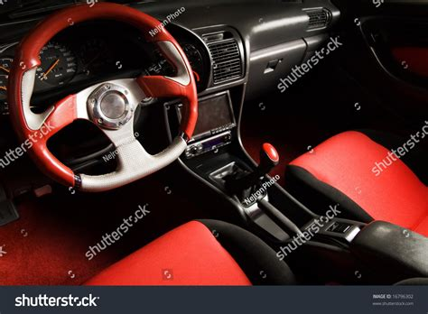 velvet car interior tuned sport car luxury velvet interior stock photo