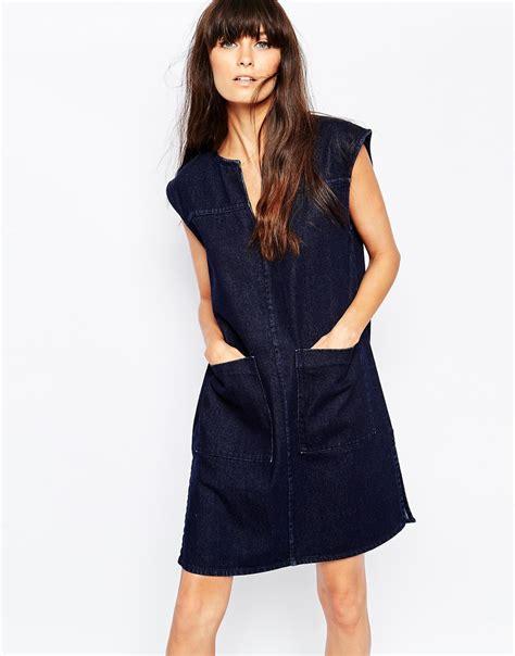 Oversize Dress Front Pocket 41635 lyst w 229 ven oversized sleeveless denim shirt dress with front pockets in blue