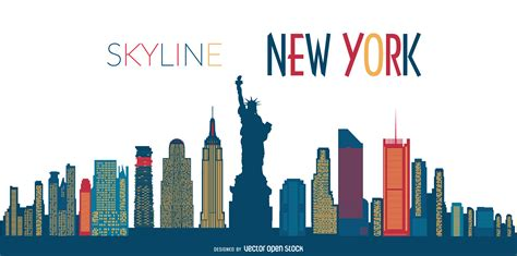 new york skyline silhouette vector download