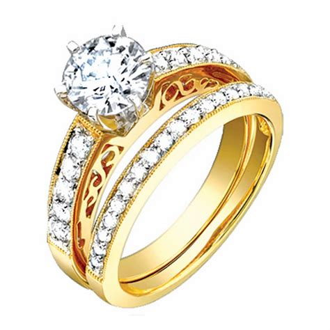1 3ct tcw 18k yellow gold bridal ring set 9003411 shop