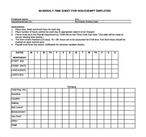 18 Bi Weekly Timesheet Templates Free Sle Exle Format Download Free Premium Templates Employee Bi Weekly Timesheet Template