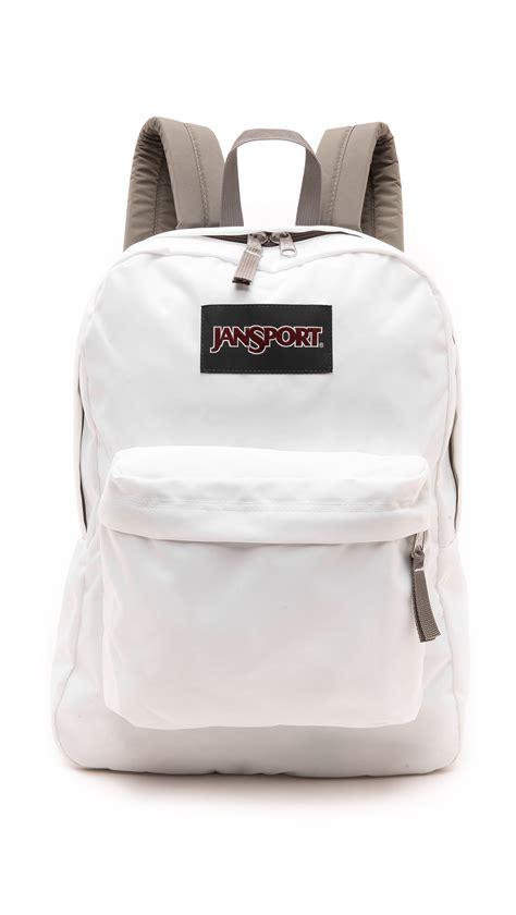 White Backpack Bag jansport classic superbreak backpack white in white lyst