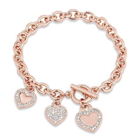 valentines day bracelets valentines day clear gold tone toggle