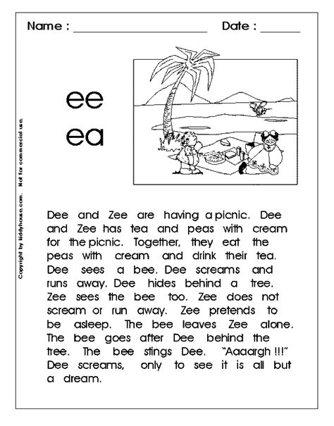 printable phonics worksheets free phonics free printables vowel teams long a long e