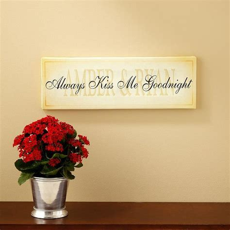 Always Kiss Me Goodnight Wall Art   Meaningful Gifts for Her